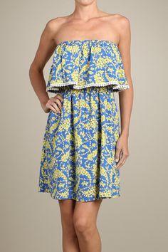 Strapless Short Mini Sundress - Blue