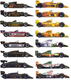 Lotus Formula 1 cars from the 70s to the 90s