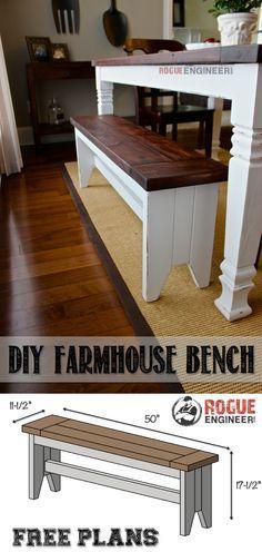 DIY Farmhouse Bench Plans -Free Plans | http://rogueengineer.com #FarmhouseBench #DiningroomDIYplans