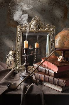 Candle, Mirror still life by Kevin Best