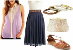 Looking for something dressier? Try pairing this blouse with a mid-length navy blue skirt. These huarache-style sandals are not only super-comfy, but they also mimic the coloring found on the bow-shaped belt. Grab a faux-snakeskin purse, which adds both texture and interest. Accessorize with several bangles to complete this outfit.