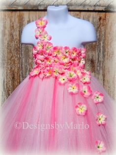 Pink flower girl dress Pink tutu dress Light by Designsbymarlo
