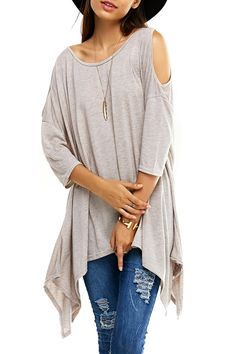 Cut Out Asymmetrical Solid Color T-Shirt Trendy Clothes For Women, Casual Dresses For Women, T Shirts For Women, Fancy Tops, Sammy Dress, Tshirt Colors, Casual Tops, Long Sleeve Tees, Tunic Tops