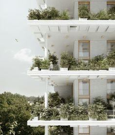 Penda diseña villas en altura con jardines verticales para Hyderabad