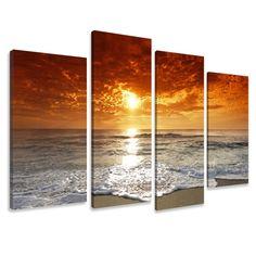 Precioso cuadro Puesta del sol 4 piezas medida total 130 cm de ancho 80 cm largo. enmarcado listo para colgar, el envío a toda la UE gratis , tiempo
