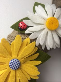 Daisy wool felt flowers sizzix die cut Eileen hull leaves ladybug buttons  ribbon burlap pairofpetals.com