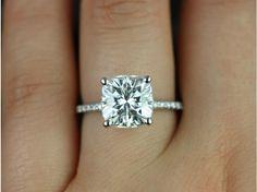 Rosados Box Heidi 9mm White Gold Cushion FB Moissanite and Diamond Basket Engagement Ring