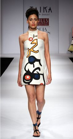 Short Dress from Taika by Poonam Bhagat inspired by artist Joan Miro. Quirky and Vibrant. at the Will India Fashion Week.