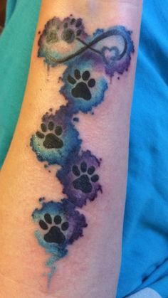 Paw Print Heart Infinity water color blue turquoise purple pet dog cat animal tattoo wrist forearm