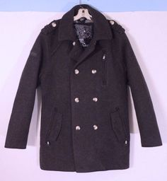 Superdry Japan Jermin Street Pea Trench Coat Heavy Jacket 44 Chest #Superdry #Peacoat