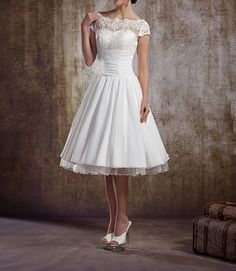 Vintage Short Wedding Dress, Lace Wedding Dress,1950's Wedding Dresses,Simple Tea Length Wedding Dress, Retro Style Wedding Dresses by Marrymanor on Etsy https://www.etsy.com/listing/212496781/vintage-short-wedding-dress-lace-wedding