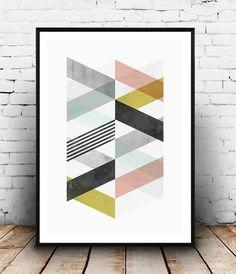 Chevron print Abastract print waterecolor print by Wallzilla