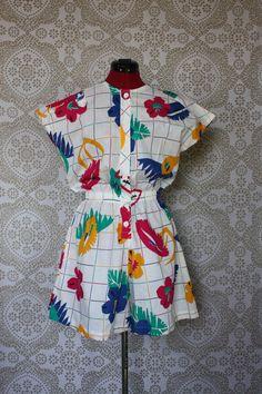 Vintage 1980's Koret  One Piece Cotton Shorts Romper Playsuit L/XL by pursuingandie, $36.95
