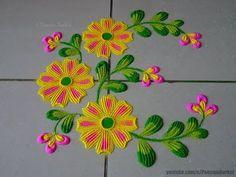 Simple yet beautiful flowers rangoli for beginners Flower Rangoli Images, Simple Flower Rangoli, Rangoli Designs Flower, Rangoli Border Designs, Small Rangoli Design, Colorful Rangoli Designs, Rangoli Designs Images, Beautiful Rangoli Designs, Mehndi Designs