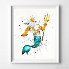 Sebastian The Little Mermaid Wall Art Disney Watercolor Poster Nursery UNFRAMED