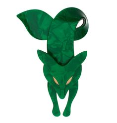 Vintage Lea Stein emerald green fox brooch