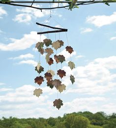 Our handcrafted Ceramic Leaf Wind Chime shares its delicate ceramic music whenever the wind blows. Wind Sculptures, Sculpture Clay, Ceramics Projects, Clay Projects, Ceramics Ideas, Clay Fairy House, Collaborative Art Projects, Diy Wind Chimes, Outdoor Art
