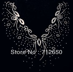 Free Shipping 31x29cm 20pcs/lot Collar Pattern Rhinestones Heat Transfer Design Iron On Motifs patches Free Custom Design