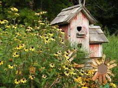 country garden...love the birdhouses!!