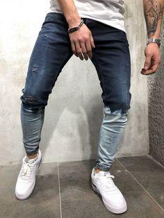 S streetwear, urban style, denim, jeans, blue outfit в 2 Older Mens Fashion, Mens Fashion Casual Shoes, Mens Fashion Blazer, Men Fashion Show, Men Casual, Streetwear Jeans, Denim Jeans Men, Urban Fashion, Urban Style