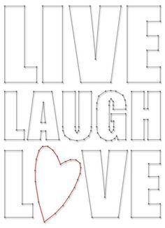 Live Laugh Love   Spijkerschriften   spijkerpatroon