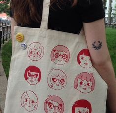 12 pissy, sweet, and savvy girl faces illustrated by yours truly and hand silkscreened onto canvas produced in the USA. Art Bag, Girl Face, How To Draw Hands, Reusable Tote Bags, Canvas, Illustration, Gifts, Etsy, Decorating Tips