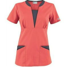 The newest addition to the UA Best Buy Scrubs collection is the Best Buy Contrast V-Neck Scrub Top. Healthcare Uniforms, Medical Uniforms, Scrubs Outfit, Scrubs Uniform, Buy Scrubs, High Collar Blouse, Classy Suits, Latest African Fashion Dresses, Medical Scrubs