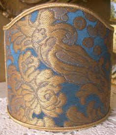 Clip On Shield Shade Blue and Gold Rubelli Tebaldo Silk Brocatelle Fabric Mini Lampshade