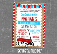 I love the little red wagon first birthday theme for little boy and it would be sweet for a baby shower too! There is so much you can do with red