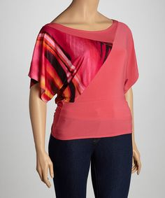 Take a look at this Coral Aurora Drape Top - Plus by Maya Plus on #zulily today!