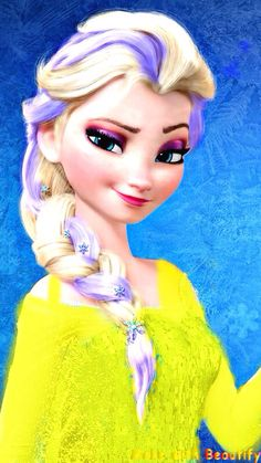 An Elsa edit I made. I added the color in her hair and made  the yellow sweater looking thingy! :)