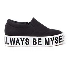 Always Be Myself Shoes - Platform Slip On Sneakers - (91 AUD) ❤ liked on Polyvore featuring shoes, sneakers, zapatos, flats, black slip on sneakers, black platform shoes, white slip on sneakers, white flat shoes and black shoes