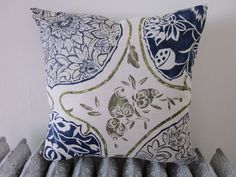 18x18 Green and Blue Print on Linen and Cotton by hemdbymichelle, $65.00