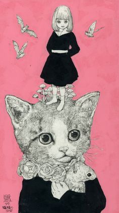 The Bizarre World of Yuko Higuchi – The Dancing Rest Art And Illustration, Arte Indie, Living At Home, Artist Art, Cat Art, Cute Wallpapers, Alice In Wonderland, Amazing Art, Illustrators