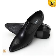 Black Leather Dress Shoes for Men CW762111 Designer Cool leather dress shoes for men crafted from genuine full grain Italian leather upper and real leather insole. Quality handmade leather dress oxfords shoes sales in cwmalls.com!