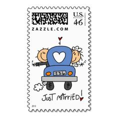 Stick figure Just Married Postage stamps! How cute!