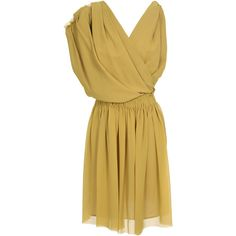LANVIN Draped and Gathered Crepe Silk Dress ($1,285) ❤ liked on Polyvore featuring dresses, vestidos, short dresses, vestiti, beige dress, v neck mini dress, ruched cocktail dress, beige cocktail dress and v neck cocktail dress