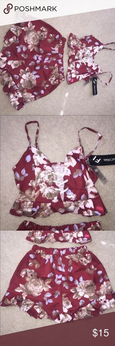 Two piece set Red floral two piece set... ordered from a boutique online. The shorts are high waisted Other