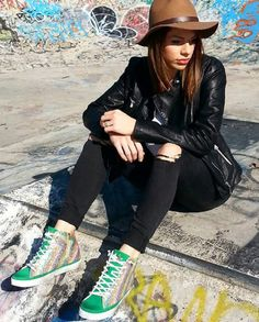 What is the perfect way to add a pop of colour? Wearing #2star shoes!  www.2star.it  #high #sneaker #sneakers #green #sparkling #shining #colourful #brushed #used #effect #glamorous #shoe #shoes #style #fashion #spring #summer #collection #woman #girl #instacool #instamoment