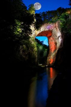 Full Moon over Natural Bridge in Rockbridge County, Virginia