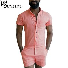 10ad2fb8583 Summer Fashion Short Sleeve Mens Rompers Male Single Breasted Jumpsuit  Cargo Short Pants Boyfriend Zip Trousers Party Overalls
