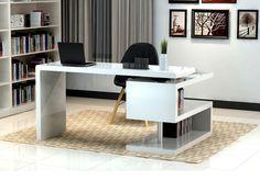 J&M Furniture Modern White and Metal Contemporary Writing Work Computer A33 Office Desk , laminate - J&M Furniture, Minimal & Modern