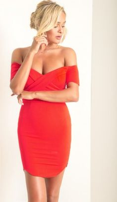 Heirloom Off The Shoulder Bodycon in Red