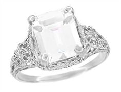 Edwardian Filigree Emerald Cut White Topaz Ring in Sterling Silver - $115 - http://www.antiquejewelrymall.com/ssr618wt.html
