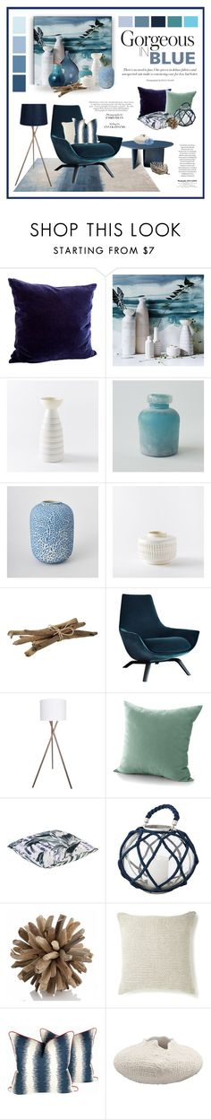 """Colours of the Ocean"" by ollie-and-me ❤ liked on Polyvore featuring interior, interiors, interior design, home, home decor, interior decorating, Posh Totty Designs Interiors, West Elm, Seed Design and Crate and Barrel"