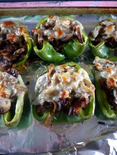 Philly cheesesteak stuffed peppers… the best of both dishes! Gluten-free and dairy-free option.