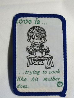 034-Love-is-Trying-to-Cook-Like-his-Mother-does-034-Sew-on-Cloth-Patch-Badge-1970-039-s
