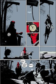PERFECT LAYOUT: Mike Mignola.From the Hellboy story 'The Corpse'. One of THE best comic pages ever!