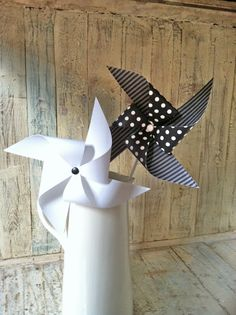 Pinwheels  Set of 8 Black and White Party Pinwheels  by HalosHaven, $23.40