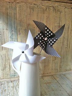 Pinwheels  Set of 8 Black and White Party Pinwheels  by HalosHaven, $23.40